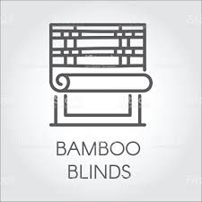 window bamboo blinds icon in line style contour emblem for