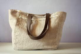 sac cabas en lin laine feutrée