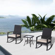 Wicker Outdoor Rocking Chairs Outsunny Rocking Chair Tea Table Rattan Set Wicker Cushion Outdoor