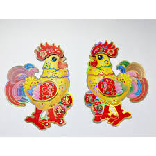 chinese new year colourful double rooster decoration in pop up