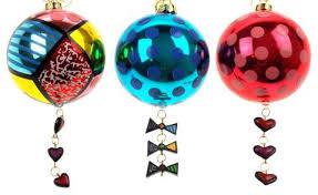 romero britto ornaments set 5 frog house cat
