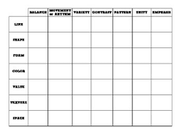design elements matrix freebie elements and principles of art and design matrix tpt