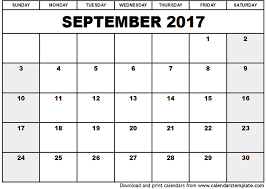 Excel Monthly Planner Template 2017 September Calendar Excel Printable Editable Blank Calendar 2017