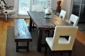 wooden bench style dining table ideas for christmas dinner sides