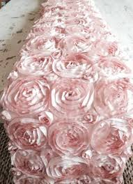 pink rosette table runner 90 x132 pink wholesale grandiose rosette 3d satin rectangle