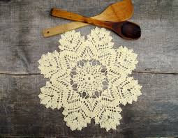 crochet christmas doily small lace tablecloth yellow