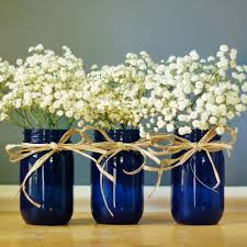 Blue Vases For Wedding Set Of Three Cobalt Blue Mason Jar Vases Hand Painted By Litdecor