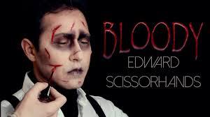 bloody edward scissorhands halloween makeup tutorial youtube