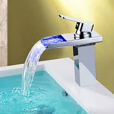 Modern Faucets For Bathroom Sinks by New Modern Led Rgb Waterfall Chromed Single Lever No Battery Mixer