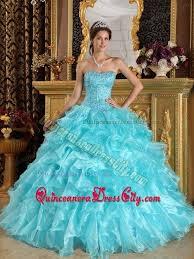 dresses for sweet 15 aqua blue strapless beading sweet 15 dresses with ruffles 158 96