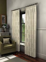 Curtains 46 Inches Florence Crushed Voile Lined Curtains With Leaf Motif One
