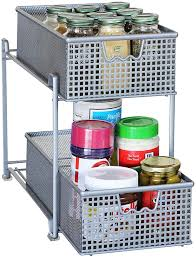Under Cabinet Shelves by Amazon Com Decobros 2 Tier Mesh Sliding Cabinet Basket Organizer