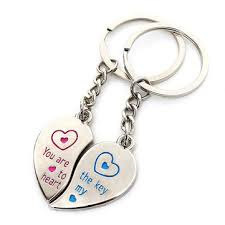 1 pair stainless steel key ring chains lover