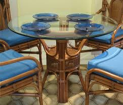 pole rattan 42 round dining table with glass top