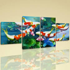 large koi fish painting wall art dining room tetraptych panels