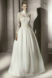 Wedding Dress Lace Sleeves Full Lined Long Sleeves Modest Bridal Dress With Lace Top And