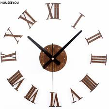popular wall clock stickers vintage buy cheap europe vintage wood wall clock sticker roman numerals retro vinyl hanging watch home decoration for