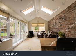 Modern Sunroom Sun Room Modern Sunroom Conservatory Extending Stock Photo