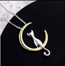 cat sitting on crescent moon sterling silver necklace cat