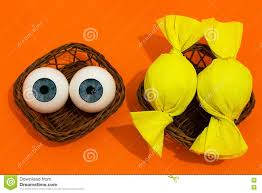 halloween baskets eye balls and candy in baskets stock photo image 75241770