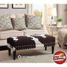 Cowhide Print Rustic Faux Cowhide Cow Print Bench Dark Brown White Ottoman