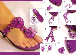 diy flip flop projects lilac beads embellish flowers