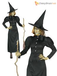 ladies long black witch costume witches womens traditional
