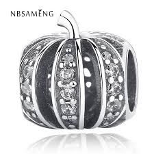 2017 newest halloween 925 sterling silver bead pumpkin with