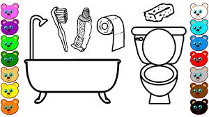 tool coloring pages learning colors for kids with toilet u0026 bathroom tools coloring