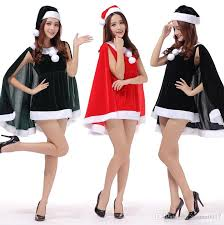 santa claus women xmas dress set with cloak christmas party
