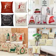 Christmas Xmas Linen Cushion Cover Throw Pillow Case Home Decor