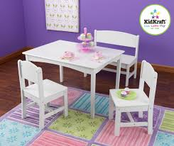 kidkraft nantucket table with bench u0026 2 chairs white