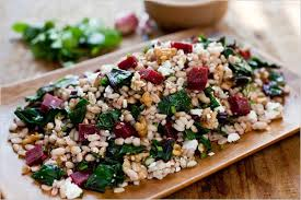 farro salad with beets beet greens and feta recipe nyt cooking