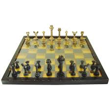 large mid century modern industrial chess set with 3d polychrome