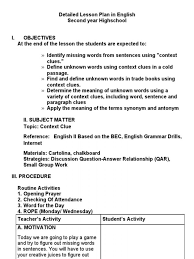 detailed lesson plan in english contextclues word grammar plans