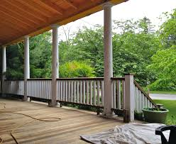 articles with deck railing wood balusters tag awesome porch