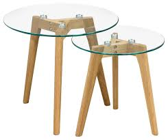 Wooden Legs For Table Monarch Round 2 Piece Nesting Table Set With Oak Legs And Tempered