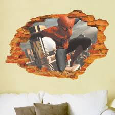 spiderman breaking wall city 3d view kids boys bedroom wall