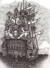 drawn sailing ship captain hook pencil and in color drawn