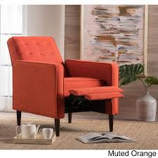 mervynn mid century button tufted fabric recliner club chair by
