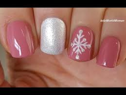 easy snowflake nail art pale pink winter nails youtube