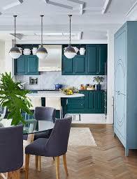Blue Kitchen Cabinets Peacock Blue Kitchen Color Design Ideas
