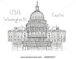 watercolor hand drawn architecture sketch illustration stock