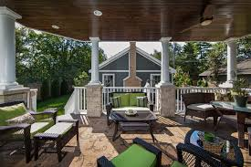 outdoor living space with covered patio fireplace naperville