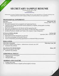 Resume Free Samples Download by 28 Resume Sample For Secretary Example Church Secretary Resume