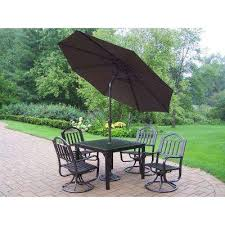 Patio Table With Umbrella Cast Iron Patio Dining Furniture Patio Furniture The Home Depot