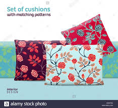 matching patterns set of cushions and pillows with matching seamless patterns stock