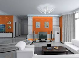modern home interior design ideas with gray and orange colors