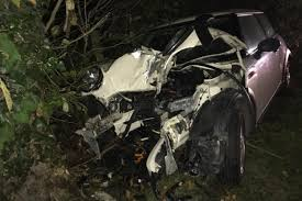 two taken to hospital after mini crashes into tree near