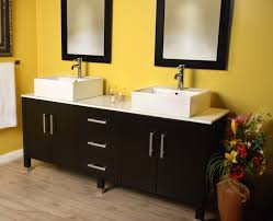 marble counter top combined double white porcelain vessel sinks